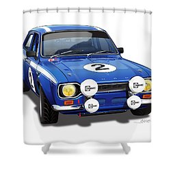 1970 Ford Escort Mexico Illustration Shower Curtain