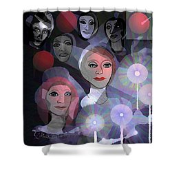 Shower Curtain featuring the digital art 1970 - A Ceremony by Irmgard Schoendorf Welch