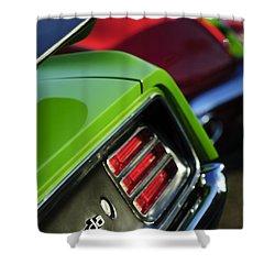 1970 Plymouth Barracuda Cuda Taillight Emblem Shower Curtain by Jill Reger