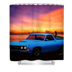 1970 Ranchero Dominican Beach Sunrise Shower Curtain