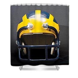 Shower Curtain featuring the photograph 1970s Wolverine Helmet by Michigan Helmet
