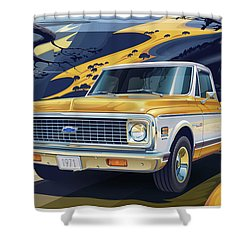 1971 Chevrolet C10 Cheyenne Fleetside 2wd Pickup Shower Curtain