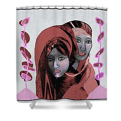 Shower Curtain featuring the digital art 1971- Rosecoloured Portrait 2017 by Irmgard Schoendorf Welch