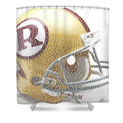 1971 Redskins Helmet Greatest Players Mosaic Shower Curtain by Paul Van Scott