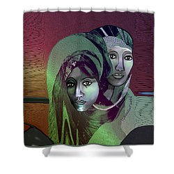 Shower Curtain featuring the digital art 1972 - 0n A Gloomy Day - 2017 by Irmgard Schoendorf Welch
