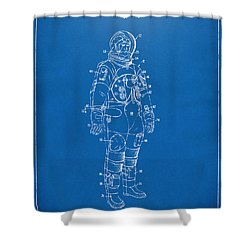 1973 Astronaut Space Suit Patent Artwork - Blueprint Shower Curtain by Nikki Marie Smith