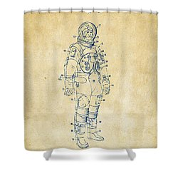1973 Astronaut Space Suit Patent Artwork - Vintage Shower Curtain