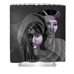 Shower Curtain featuring the digital art 1973 - Exotic 2017 by Irmgard Schoendorf Welch