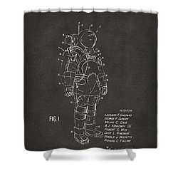 1973 Space Suit Patent Inventors Artwork - Gray Shower Curtain by Nikki Marie Smith