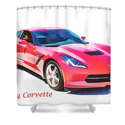 1974 Red Corvette By Chevrolet Painting Print 3480.02 Shower Curtain