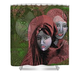 Shower Curtain featuring the digital art 1974 - Women In Rosecoloured Clothes - 2017 by Irmgard Schoendorf Welch