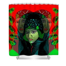 Shower Curtain featuring the digital art 1975 - Mystery Woman by Irmgard Schoendorf Welch
