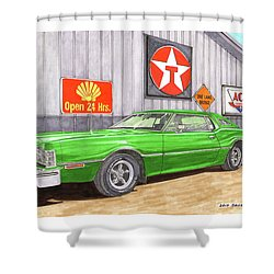 Shower Curtain featuring the painting 1976 Ford Thunderbird by Jack Pumphrey