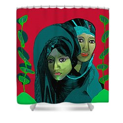 Shower Curtain featuring the digital art 1976 - Gloom by Irmgard Schoendorf Welch