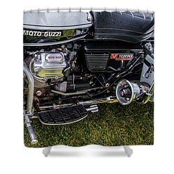 Shower Curtain featuring the photograph 1976 Motto Guzzi V1000 Convert by Roger Mullenhour