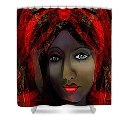 Shower Curtain featuring the digital art 1980 -  Leading Into Temptation 2017 by Irmgard Schoendorf Welch