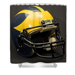 Shower Curtain featuring the photograph 1980s Wolverine Helmet by Michigan Helmet