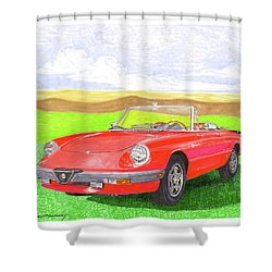 Shower Curtain featuring the painting 1983 Alfa Romero Spider Veloce by Jack Pumphrey