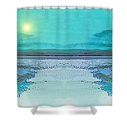 Shower Curtain featuring the digital art 1983 - Blue Waterland -  2017 by Irmgard Schoendorf Welch