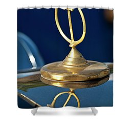 1984 Excalibur Roadster Hood Ornament Shower Curtain by Jill Reger