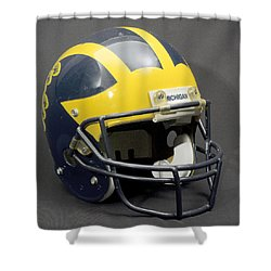 Shower Curtain featuring the photograph 1990s Wolverine Helmet by Michigan Helmet