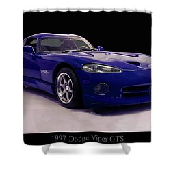 Shower Curtain featuring the digital art 1997 Dodge Viper Gts Blue by Chris Flees