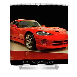 Shower Curtain featuring the digital art 1997 Dodge Viper Gts Red by Chris Flees