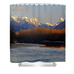 1m4525 Skykomish River And West Central Cascade Mountains Shower Curtain