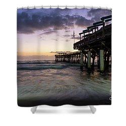 1st Dawn Cocoa Pier Shower Curtain by Jennifer White