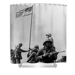 1st Flag Raising On Iwo Jima  Shower Curtain by War Is Hell Store