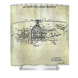 1950 Helicopter Patent Shower Curtain