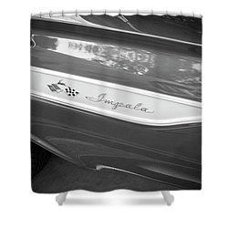 Shower Curtain featuring the photograph 1961 Chevrolet Impala Ss Bw by Rich Franco