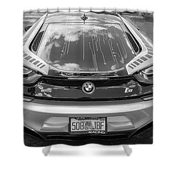 Shower Curtain featuring the photograph 2015 Bmw I8 Hybrid Sports Car Bw by Rich Franco