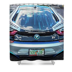 Shower Curtain featuring the photograph 2015 Bmw I8 Hybrid Sports Car by Rich Franco