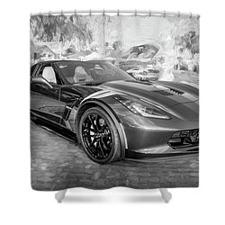 Shower Curtain featuring the photograph 2017 Chevrolet Corvette Gran Sport Bw by Rich Franco