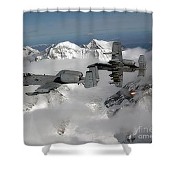 Shower Curtain featuring the photograph A-10 Thunderbolt IIs Fly by Stocktrek Images