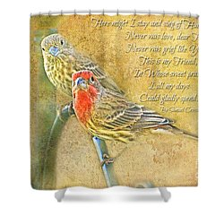 A Pair Of Housefinches With Verse Part 2 - Digital Paint Shower Curtain by Debbie Portwood