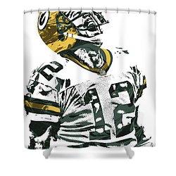 Aaron Rodgers Green Bay Packers Pixel Art 4 Shower Curtain by Joe Hamilton