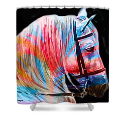 Shower Curtain featuring the painting Abstract White Horse 19 by J- J- Espinoza