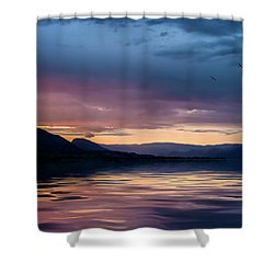 Across The Clouds I See My Shadow Fly Shower Curtain