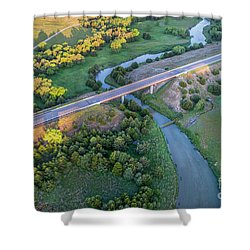 aerial view of Dismal River in Nebraska Shower Curtain