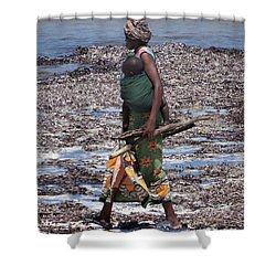 African Woman Collecting Shells 1 Shower Curtain