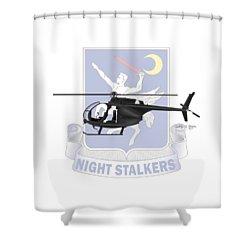 Shower Curtain featuring the digital art Ah-6j Little Bird Night Stalkers by Arthur Eggers