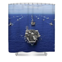 Shower Curtain featuring the photograph Aircraft Carrier Uss Ronald Reagan by Stocktrek Images