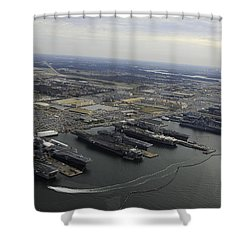 Aircraft Carriers In Port At Naval Shower Curtain by Stocktrek Images