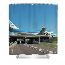 Airplane Over Highway Shower Curtain
