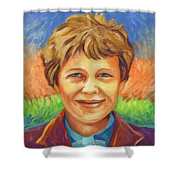 Amelia Earhart Portrait Shower Curtain