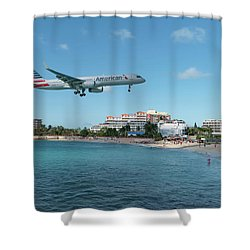 American Airlines Landing At St. Maarten Shower Curtain by David Gleeson