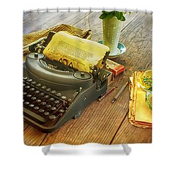 An Author's Tools Shower Curtain by Lynn Palmer