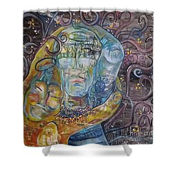 2 Angels Hugging Environmental Warrior Goddess Shower Curtain by Carol Rashawnna Williams